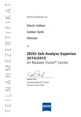 Gebker Optik. Zertifizierter ZEISS Seh-Analyse Experte in Gronau.