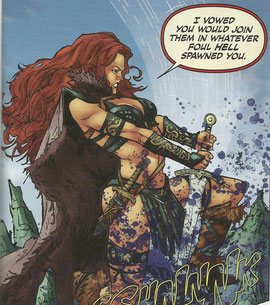 Spoiler alert: Red Sonja is stabbing a thing. (Art by Edgar Salazar.)