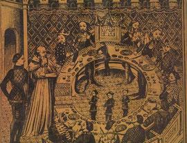 Illustration de la Table Ronde avec le siège périlleux, au centre de l'image, vide