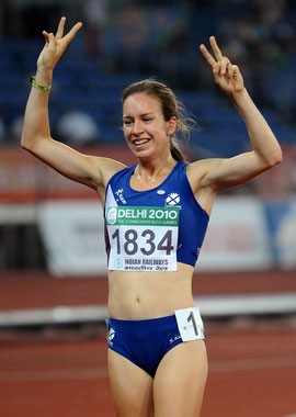 Stephanie Twell celebrates her bronze medal in 2010 (Photo: Press Association)
