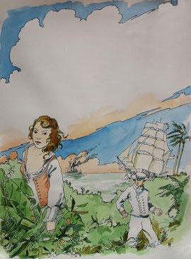 Louis, Gabriela, and the Nemesis, Watercolor  by Benoît d'Amat
