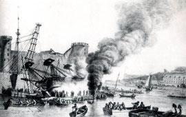 Navire en bois abattu en carène