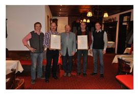 Georg Schiegg, Armin Reitenberger, Georg Schiegg sen., Thomas Sirch und Bernhard Schiegg (von links)