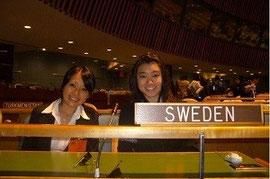 ニューヨークの国連本部での世界大会で。左が高橋さん。