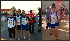 A la izquierda, Paco Buendía,Antonio  Torralbo y Daniel Zamorano momentos antés de la salida, y a la derecha Paco Roldan.