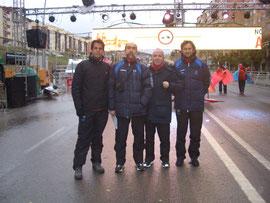De izquierda a derecha, Carlos Nicot, Dionsio Flores, Juan Valera y Kiki Somé momentos previos a la carrera.