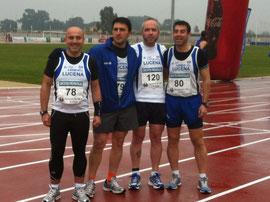 Paco, Antonio, Juan y Dani, momentos previos a la salida