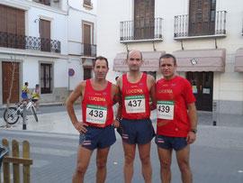 Juan, Pedro y Miguel, momentos antes de la prueba.