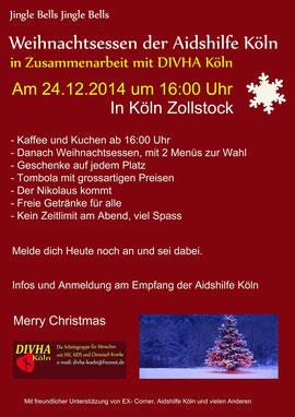 Plakat für das Weihnachtsessen 2014