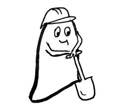 Glockenmännchen mit Schutzhelm und Spaten. Zeichnung von Claudia Pichler Mediation Salzburg