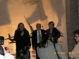 Dott.ssa Mariotti con sig. Laerte Balboni e l'artista Dianne Pollard