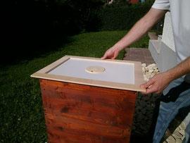 Eine Bienenflucht wird immer zwischen Brutzarge und Honigzarge gelegt