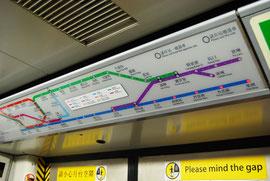 Carte du métro avec indicateurs lumineux