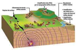 Effets directs et induits d'un séisme © BRGM