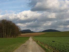 von rechts: Stellberg, Milseburg und der Bärlauchwald