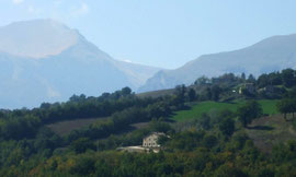 "La Mela Rosa & Monte Amandola - the mountain on the right with what looks like two ""eyebrows"""