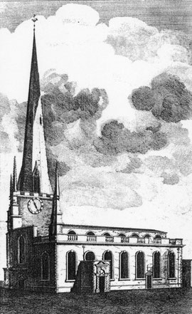 St Martin's after the 1690 alterations in William Hutton 1783 An History of Birmingham