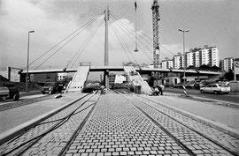 Foto: H. Heer, die Pylonbrücke kurz vor der Freigabe