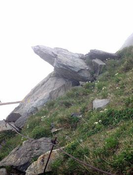 トラバース道の岩