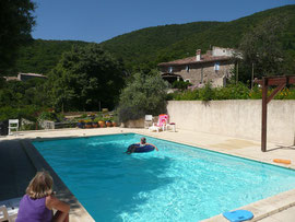 "The swimming pool and ""le Grand Mas""."