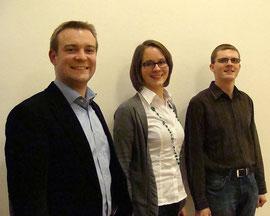 Das Sprecherteam 2012-2015: Dr. Florian Kluger (Sprecher), Nina Frenzel und Benedikt Rodler (Beisitzer). FOTO: A. Saberschinsky