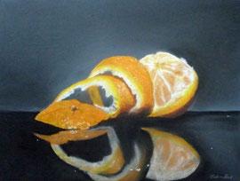 Orange-Pasteöll-Stillleben