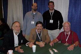 写真左 Tim de Paravicini;中央 Paul Stubblebine; 右端; Stan Ricker; 後右 Music Direct 社長 Jim Davis; 後左 企画セールス Josh Bizer.