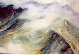 Brume en montagne, aquarelle de Michèle Dauriat