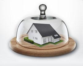Mit dem optimalen Verischerungspaket ist Ihr Haus gut geschützt, wie unter einer Käseglocke. Foto: AXA
