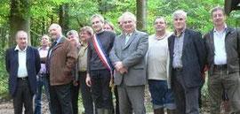 Elus lors de l'inauguration du sentier pédagogique du Neuwald à Wolfersdorf.
