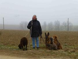 Ich, unsere Hunde rechts und links Leon das Schaf
