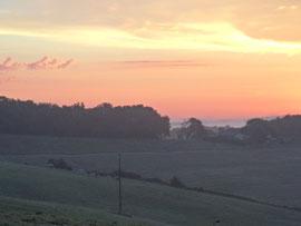 coucher de soleil sur les patures