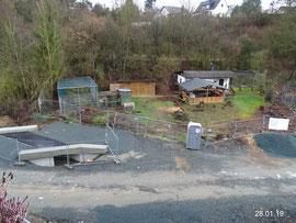 Baustelle Vereinsheim im Januar