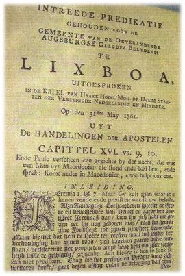 A primeira homilía do Padre holandês Johannes Schiving se encontra no arquivo
