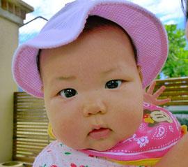 わたち咲南。帽子かぶって日焼け対策バッチリでちゅ。