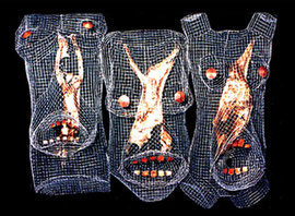 Primordial Shields. (detail). 1994. Wire mesh, mixed media. 100 x 120 x 40cm. Temporary installation. © Charles Rocco
