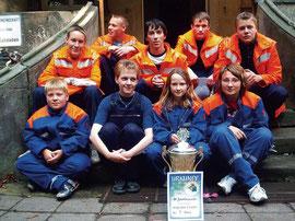 Gunsleber Jugendfeuerwehr im Jahr 2005  unter Leitung von Annett Henning.