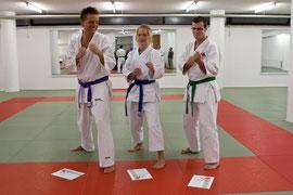 Gero, 3. Kyu; Viktoria, 4. Kyu; Marcus, 5. Kyu