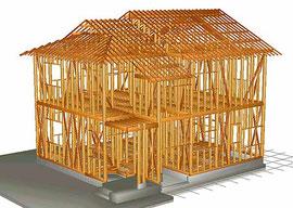 在来木造の構造模型の写真  多くの問題点は土台と柱の根本付近です。それ以外はチェック程度でOK