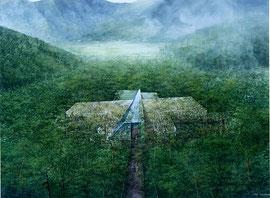 箱根の杜の中に沈み込んだようなポーラ美術館  箱根の環境を守りながら建っています