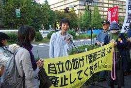 9月に経産省前でハンストした岡本直也さんも応援に駆けつけた