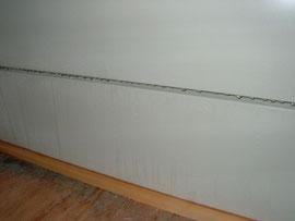 [写真2]組み立て型プレハブの壁。断熱パネルの接続部分が激しく結露している