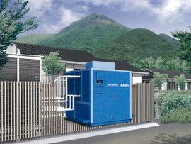 湯布院の旅館に設置されるマイクロバイナリー発電システムの設置イメージ