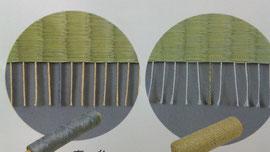 麻糸(りんどう色)   綿糸(いちょうりんどう色)