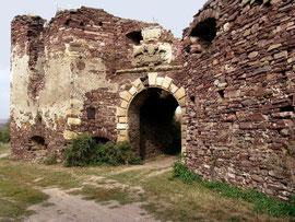 Головні ворота замку. Над воротами герб власників замку.