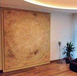 Leinwandbild 2,50 x2,50 m  eingebaut in eine Schiebetür  als Raumteiler  Hebammenpraxis