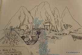 Alex, aus dem Guesthouse zeichnete unsere Storie von Tajikistan in unser Reisebuch!! Danke Alex!!
