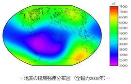 -地表の磁場強度分布図 ※アルゼンチンの重力ゼロ地帯 (全磁力2000年)-地磁気観測所ホームページ