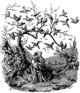 Allégorie. Old Nick [Émile Daurand-Forgues (1813-1883)], et Auguste Borget (1807-1877) pour les illustrations : La Chine ouverte. Aventures d'un fan-kouei dans le pays de Tsin. — Fournier, éditeur, Paris, 1845.