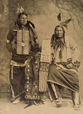 Amos Little aka Iron Hawk with Charles Chase Close To Lodge - Oglala 1900
